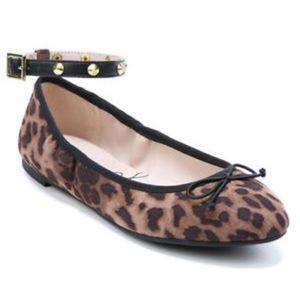 LIBBY EDELMAN Clarissa Leopard Print Studded Flats